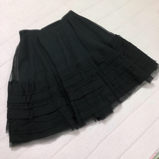 フォクシー(FOXEY)のFOXEY フォクシー シルク スカート ブラック サイズ40 美品(ロングスカート)