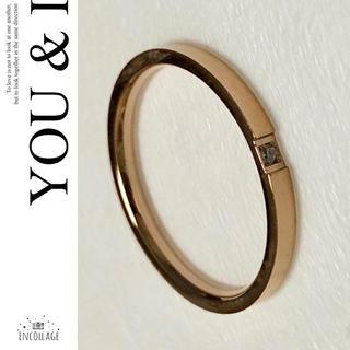 ジルコニア付 指輪 レディース ピンクゴールド シルバー リング メンズ(リング(指輪))