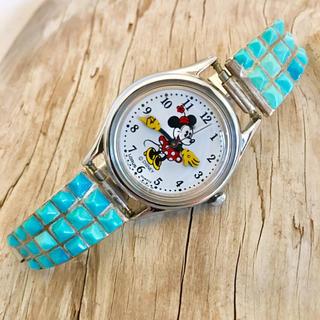 インディアン(Indian)のズニ族◆ターコイズ ◆ミニー 時計◆インレイ◆ウォッチ◆インディアンジュエリー◆(腕時計)