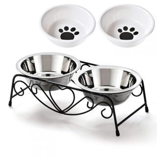 ペットボウルスタンドセット ステンレス製 えさ入れ ごはん皿 お水入れ 猫 犬