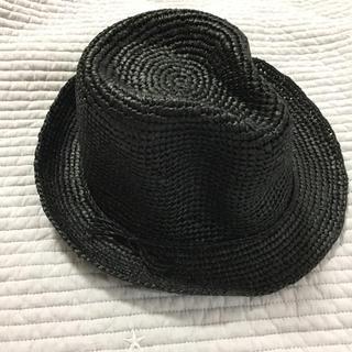MUJI (無印良品) - ◼️無印良品 中折れ帽 ハット ラフィア 麦わら帽子 新品 黒 定価5980円