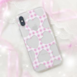 Clear Heart ♡ type:チェック «ソフトケース»(iPhoneケース)