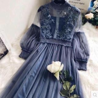 花柄レース刺繍チュールワンピースシースルードレス結婚式ロングワンピースハイネック(ロングワンピース/マキシワンピース)