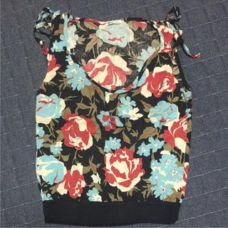 シンシア(cynthia)の【日本製】花柄 タンクトップ 麻 綿 Mサイズ(Tシャツ(半袖/袖なし))
