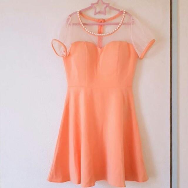 JEWELS(ジュエルズ)のjewels オレンジシャーベットカラー デコルテシースルー ミニドレス レディースのフォーマル/ドレス(ミニドレス)の商品写真