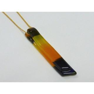 ガラス・チョーカー新品 夏にぴったり◇オレンジと濃ブルーの多色ボーダー柄(ネックレス)
