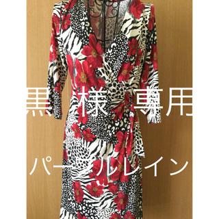 アーモワールカプリス(armoire caprice)の黒  様  専用   パープルレイン ストレッチ ワンピース  花柄 ゆったり(ひざ丈ワンピース)