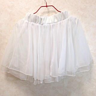 ワンアフターアナザーナイスクラップ(one after another NICE CLAUP)の白のチュールスカート(ミニスカート)