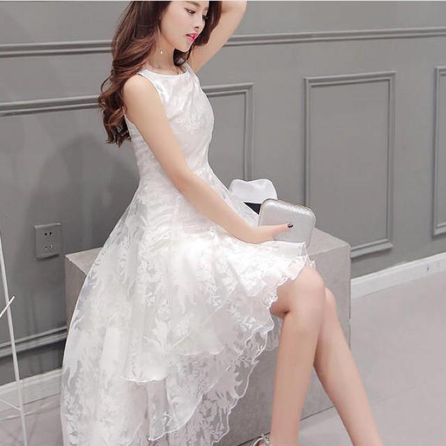 流行り❣️ホワイト結婚式二次会ドレス