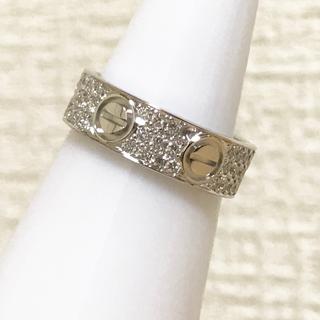 カルティエ(Cartier)の本物 カルティエ WG ラブリング パヴェ ダイヤ 48 8号 #48 k18(リング(指輪))