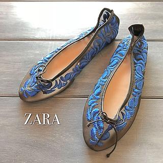 ザラ(ZARA)の⭐️最終値下げ⭐️ZARA/シースルー刺繍フラットパンプス 37(バレエシューズ)
