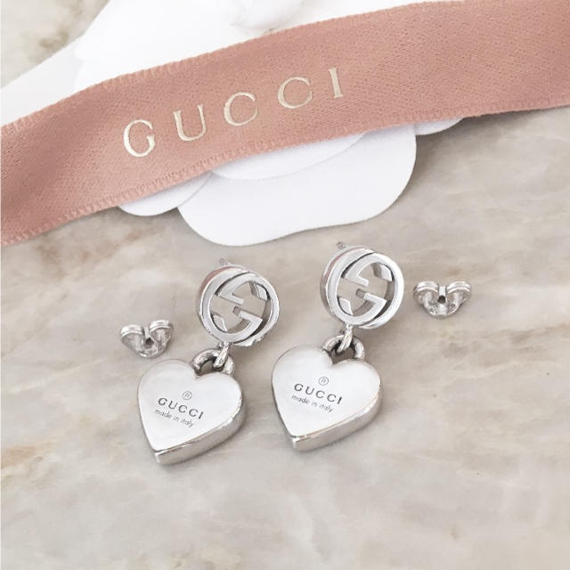 3e4023e0d235 Gucci - 正規品 グッチ ピアス ハート GG シルバー 銀 丸 925 スイング ...