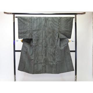 AAアンティーク男物お仕立て上がり内織綿着物 濃グレー地に縦縞柄(着物)