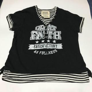 半袖 重ね着風 Tシャツ ARABIS(黒) 4Lサイズ(Tシャツ(半袖/袖なし))