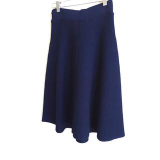 アングローバルショップ(ANGLOBAL SHOP)のフォードミルズ ミラノリブニットスカート ネイビー 36(ひざ丈スカート)
