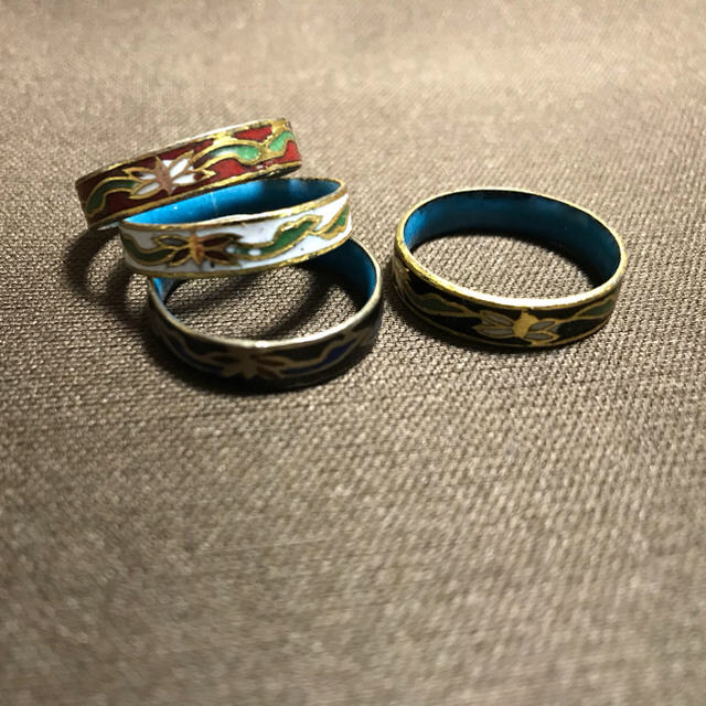 中華七宝焼きリング【黒B】 レディースのアクセサリー(リング(指輪))の商品写真
