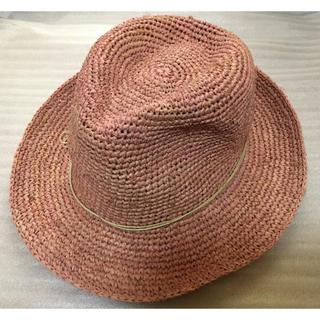 ムジルシリョウヒン(MUJI (無印良品))の無印良品  ラフィア中折れハット  ピンク(麦わら帽子/ストローハット)
