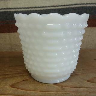 ファイヤーキング(Fire-King)のファイヤーキング ホブネイル フラワーポット 植木鉢 ホワイト 070(花瓶)