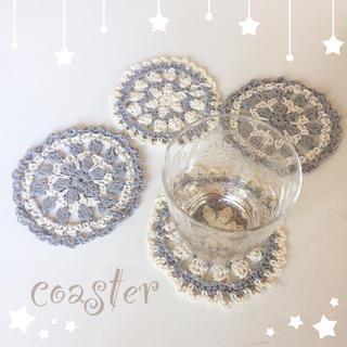 🐬ハンドメイド コースター / 4SET ブルー🐬(キッチン小物)