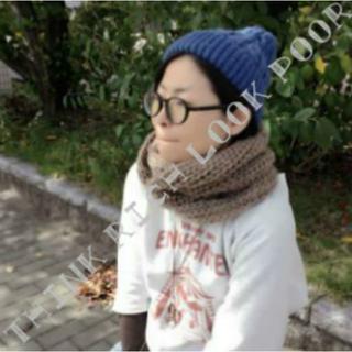 男女兼用☆毛糸のスヌード☆ブラウン/送料無料(ネックウォーマー)