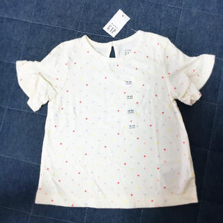 ギャップ(GAP)のGAP ドット柄♡袖フリルTシャツ 90㎝ 新品(Tシャツ/カットソー)