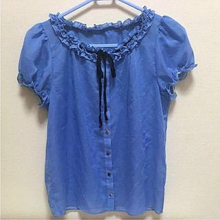 ルビーリベット(Rubyrivet)の水色 リボン ブラウス ♡(シャツ/ブラウス(半袖/袖なし))