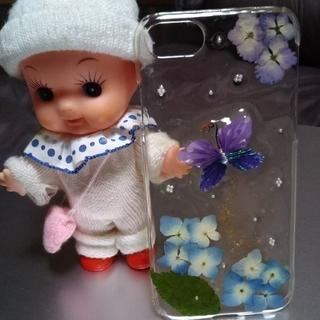 iPhone - ハンドメイド スマホケース 押し花 紫陽花 蝶々