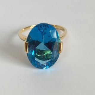 K18 天然ブルートパーズデザインリング 16号  指輪【ソーティング付き(リング(指輪))