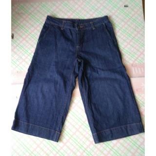 MUJI (無印良品) - 美品 無印良品 ガチョウパンツ パンツ 紺 67 綿98% ポリウレタン2%