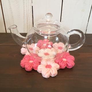 お花畑な ポットマット Pink(キッチン小物)