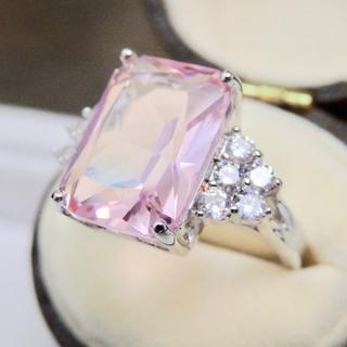 即購入OKピンクトルマリンのようなスクエアczダイヤモンドリング指輪大きいサイズ(リング(指輪))