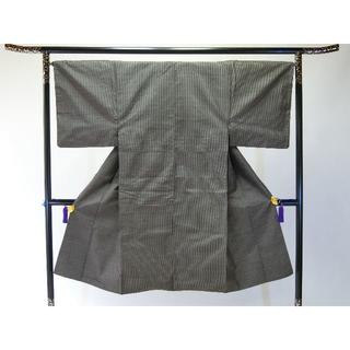 S大きいサイズ男物お仕立て上り正絹大島紬 茶色地に細かい柄 着物(着物)