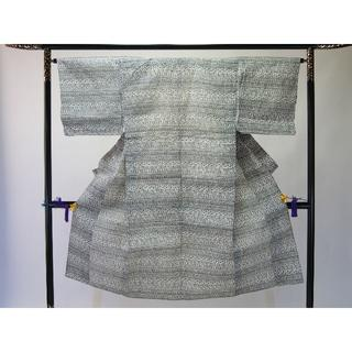 Aアンティーク男物お仕立て上がり浴衣 黒、白地にペルシャ柄(着物)