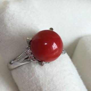 Pt900サンゴ コーラル赤珊瑚 9.4mm ダイヤリング(リング(指輪))
