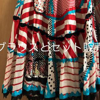 ツモリチサト(TSUMORI CHISATO)のツモリチサト シルク ピンタック 黒レース刺繍 レアスカート ブラウス 本日のみ(ひざ丈スカート)