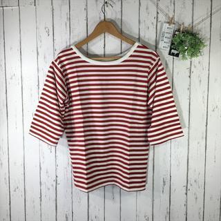 新品4L大きいサイズ 5分袖シンプルボーダーカットソー 白/赤(シャツ/ブラウス(半袖/袖なし))