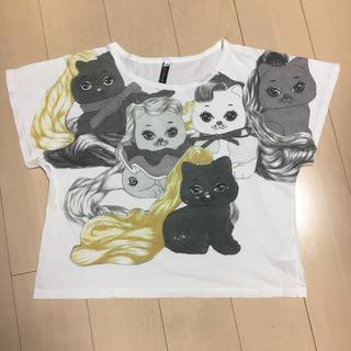 アチャチュムムチャチャ(AHCAHCUM.muchacha)のあちゃちゅむ 巻き毛にゃんこプリントTシャツ(Tシャツ(半袖/袖なし))