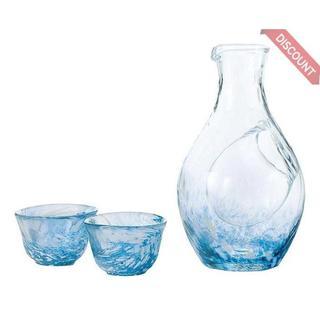 東洋佐々木ガラス 冷酒セット ブルー 冷酒カラフェ300ml、杯55(キッチン小物)