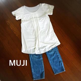 ムジルシリョウヒン(MUJI (無印良品))の新品 トップス バルーン袖 Tシャツワンピース チュニック  白 L ワンピース(ひざ丈ワンピース)
