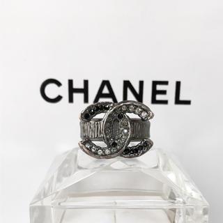 シャネル(CHANEL)の正規品 シャネル 指輪 銀 ココマーク ラインストーン 黒 石 リング シルバー(リング(指輪))