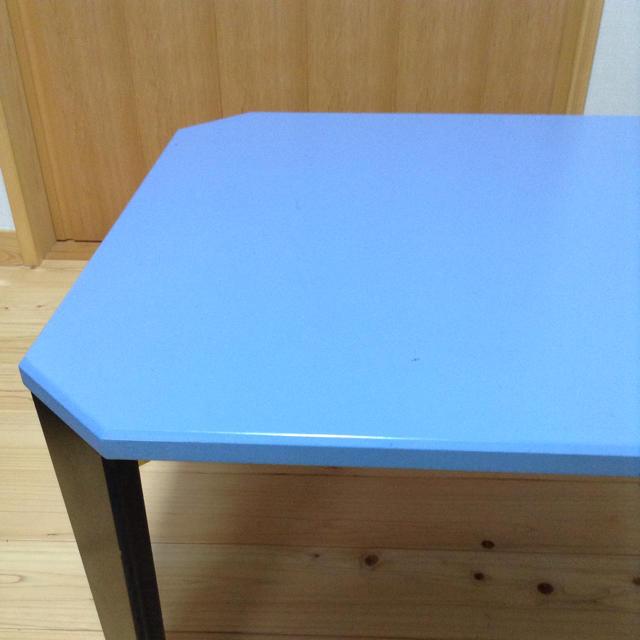 値下げ☆ パステルブルーの折り畳み式ローテーブル インテリア/住まい/日用品の机/テーブル(ローテーブル)の商品写真