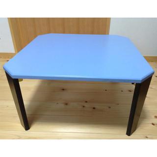 値下げ☆ パステルブルーの折り畳み式ローテーブル(ローテーブル)