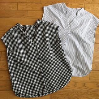 ジーユー(GU)のGUギンガムチェック&ストライプブラウス(シャツ/ブラウス(半袖/袖なし))