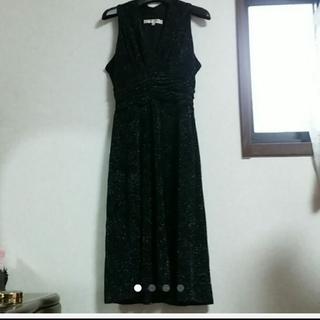 EVAN-PICONE 胸元カシュクール シルバーラメ ドレス 結婚 謝恩 XL(ミディアムドレス)