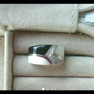 オニキス&白蝶貝 18Kホワイトゴールドリング(リング(指輪))