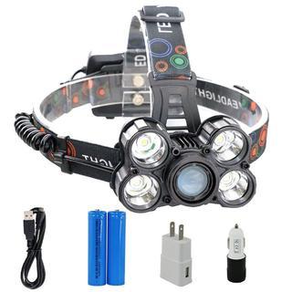 LED ヘッドライト 超高輝度  5灯充電式 防水led 点灯4モード(電池付)(その他)