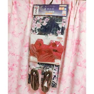 シマムラ(しまむら)のしまむら 浴衣 ネイビー ピンク 水仙 桜 新品 大人 くるピタ簡単帯(浴衣)