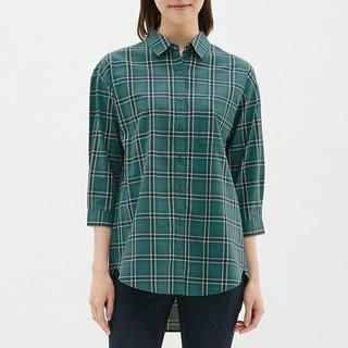 ジーユー(GU)の《新品》 GU チェックロングシャツ ダークグリーン(Tシャツ(長袖/七分))