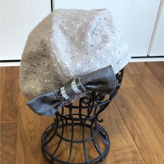 オフザウォール(off the wall)のリボン付きベレー帽☆グレー  未使用☆ off the wall(ハンチング/ベレー帽)