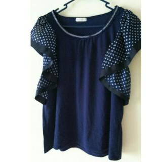 アクシーズファム(axes femme)の袖が可愛い❤️アクシーズファム フリル 紺(カットソー(半袖/袖なし))